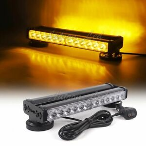 12 24w Led Warning Emergency Beacon Double Side Strobe Light Bar Amber Yellow