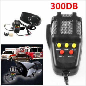 Car Truck Electric Air Horn Siren Speaker 5 Sound Tone Super Loud 300db With Mic