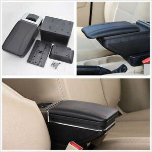 Universal Black Pu Leather Autos Interior Central Container Armrest Box Bracket