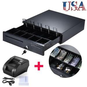 Cash Box Drawer Key Locking Safe 5 Bill 5 Coin Cashier Tray thermal Printer N3u0