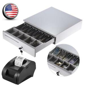 Electronic Cash Drawer Box W 5bill 5coin Tray 58mm Thermal Receipt Pos Printer