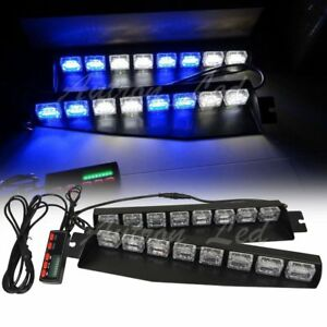 34 48w Blue White Led Visor Dash Deck Split Strobe Light Bar 18 Flash Patterns