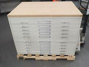Beige Off white 10 Drawer File Cabinet For Maps Drawings Blueprints