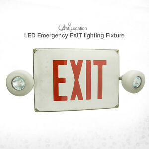 Etoplighting Wet Location Plastic Cover Double Head White Emergency Exit Sign