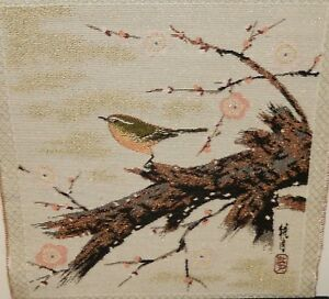 Japanese Silk Embroidery Tapestry Scroll Birds Painting Signed
