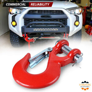 Winch Clevis Hook Forged Steel Red 35 000 Lbs For 3 8 1 2 Synthetic Cable Rope