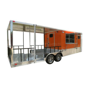 Concession Trailers 8 5 x24 Orange Bbq Smoker Vending Catering Trailer