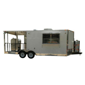 Concession Trailer 8 5 x22 White Bbq Smoker Event Catering Food