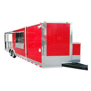 Concession Trailer 8 5 X 28 Bbq Smoker Event Catering red