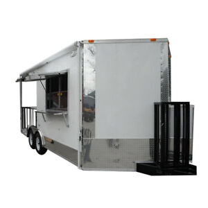 Concession Trailer 8 5 x18 White Bbq Smoker Vending Catering