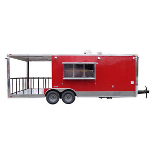 Concession Trailer 8 5 x24 Red Bbq Smoker Food Event