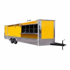 Concession Trailer 8 5 x24 Bbq Smoker Food Event Catering yellow