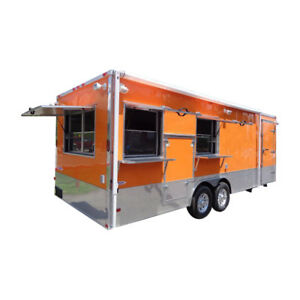 Concession Trailer 8 5 x24 Orange Event Catering Custom Food Cart Restroom