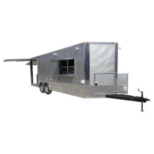 Concession Trailer 8 5 x24 Silver Event Enclosed Food Catering Kitchen with