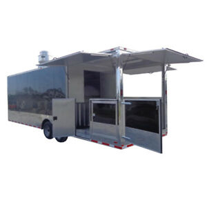 Concession Trailer 8 5 X 28 Black Smoker Bbq Food Catering Event Restroom