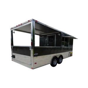 Concession Trailer 8 5 x20 Black Event Enclosed Food Kitchen