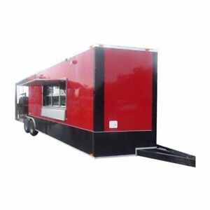 Bbq Concession Trailer 8 5 X 26 Red And Black Smoker Enclosed Kitchen Restro
