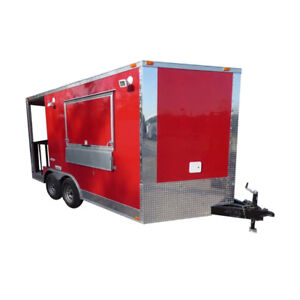 Concession Trailer 8 5 X 14 Red Catering Food Smoker Event