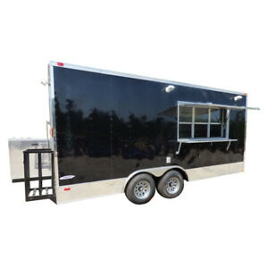 Concession Trailer Black 8 5 x18 Catering Event Food Appliances Restroom