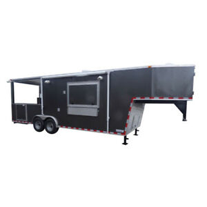Concession Trailer Charcoal Gray 8 5 X 30 Gooseneck Bbq Smoker Catering Event
