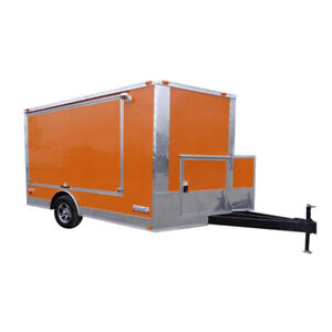 Concession Trailer 8 5 x12 Orange Vending Food Bbq Catering