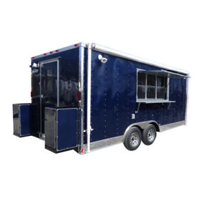 Concession Trailer 8 5 x18 Indigo Blue Food Event Catering Bbq