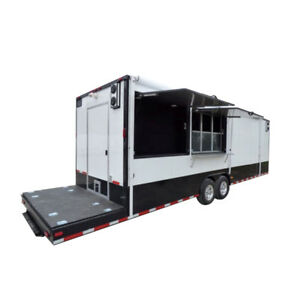 8 5 X 28 White Catering Event Trailer Concession Food Trailer