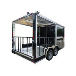 8 5 X 14 Black Concession Food Trailer Catering Event