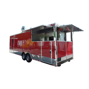 Concession Trailer 8 5 X 28 Red Bbq Event Catering