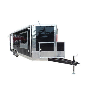 Concession Trailer 8 5 X 20 Black Bbq Food Event Catering