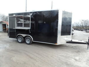 Black 8 5x16 Food Catering Event Concession Trailer