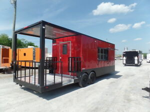 Concession 8 5x26ft Red Bbq Event Catering Trailer