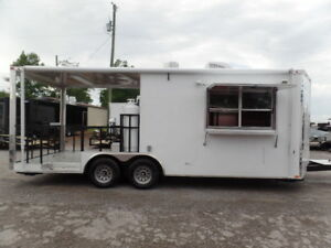Concession 8 5x22 Custom White Porch Style Trailer