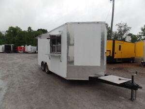 White 8 5x18 Food Concession Catering Trailer