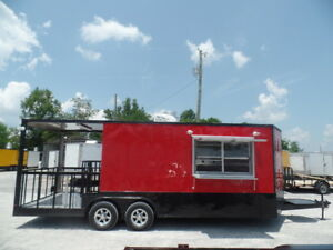 8 5 X 22 Red Porch Style Concession Food Trailer