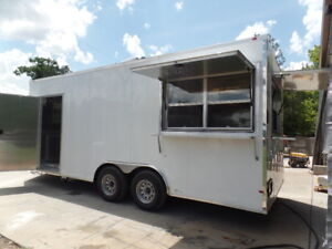 White 8 5x20 Enclosed Concession Food Trailer