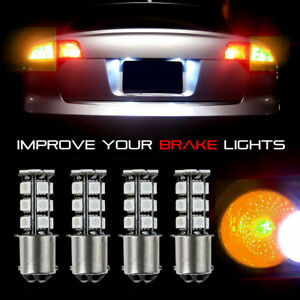 4x 18smd 1157 Led Amber Yellow Turn Signal Parking Drl High Power Light Bulbs