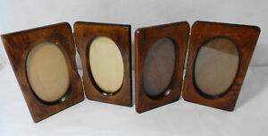 2 Vintage Bifold Wood Picture Frames With Oval Inserts Carved Detail
