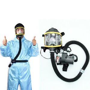 Electric Constant Flow Supplied Air Fed Full Face Gas Mask Respirator System New