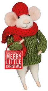 Primitive Country Folk Art Merry Little Christmas Felted Wool Mouse