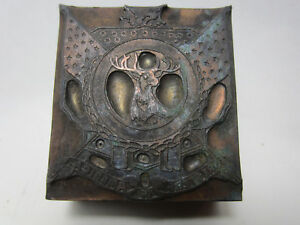Antique Etched Printer Lead Block Foresters Of America Pb 24