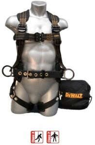 Dewalt Dxh44014 Safety Harness W 3 D rings Padded Waist Belt Extra Large