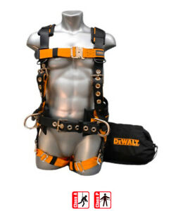 Dewalt Dxh44023 Safety Harness W 3 D rings Padded Waist Belt Large