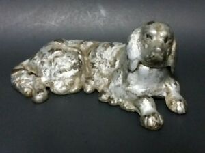 Antique Silver Nickel Paint Cast Iron Spaniel Dog Figurine Paperweight 1900s