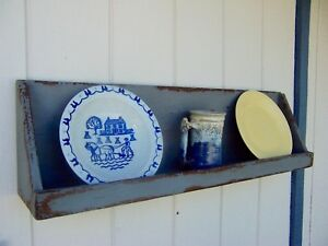 Primitive Rustic Painted Country Display Wall Plate Shelf Farmhouse Shelves Rack