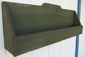 Primitive Rustic Painted Country Wall Shelf Wood Rack Farmhouse Decor Shelves