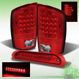 02 06 Dodge Ram 1500 2500 3500 Red Clear Led Tail Lights Pair red 3rd Brake Lamp