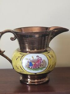 Antique English Copper Luster Lustre Pottery Handpainted Pitcher Classical 8 3 4