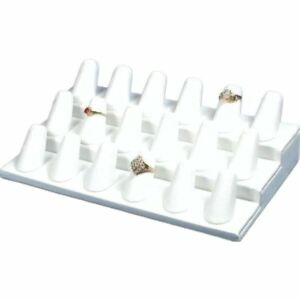 4 White Faux Leather 18 Finger Ring Displays