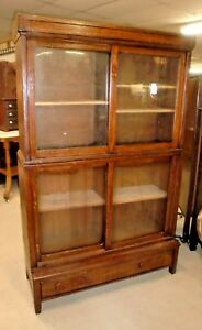 Antique Oak Barrister 2 Stack Bookcase With Top And Base With Drawer